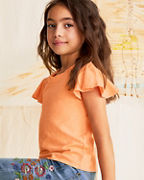 Girls' Organic-Cotton Flounce-Sleeve Knit Top
