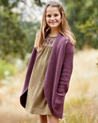 Girls' Organic-Cotton Long Cocoon Cardigan