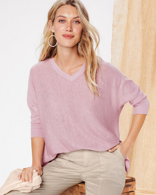 9d6570b344d Organic-Linen Boxy V-Neck Sweater. Quick Shop