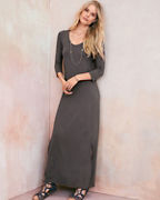 Essential Three-Quarter-Sleeve Maxi Dress