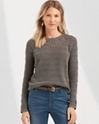 Crochet-Inset Crewneck Sweater