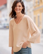 Cashmere Shell-Stitch Bell-Sleeve Sweater