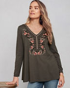 Embroidered V-Neck Knit Tunic