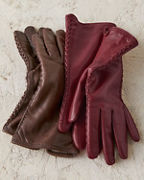 Italian Leather Braid-Detail Gloves