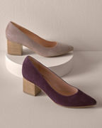 Anna Pointed-Toe Block-Heel Shoes