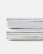Cottage Stripe Relaxed-Linen Bedding and Pillow Cover
