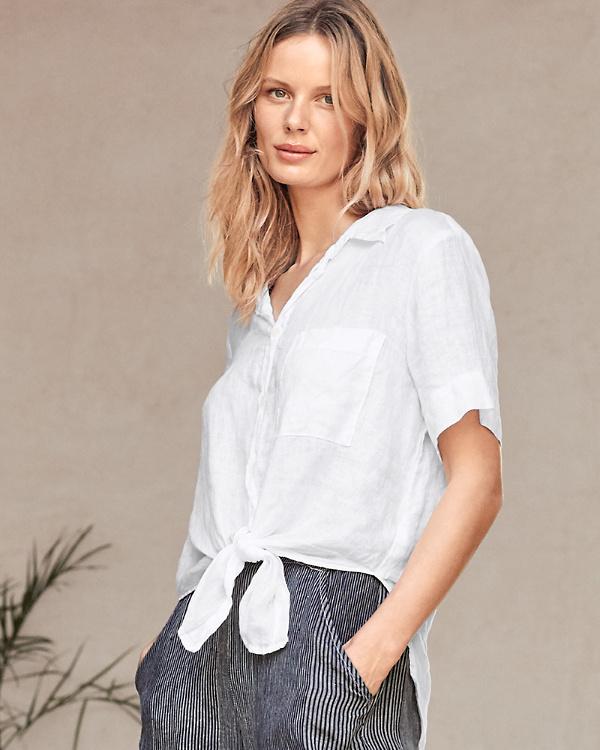 9059064fac0 CP Shades Georgia Tie-Front Linen Shirt | Garnet Hill