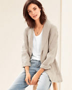 EILEEN FISHER Organic-Linen Shawl-Collar Jacket