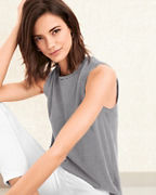 EILEEN FISHER Organic-Cotton-Jersey Striped Tank