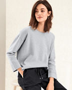 EILEEN FISHER Organic Cotton & Silk Striped Sweater