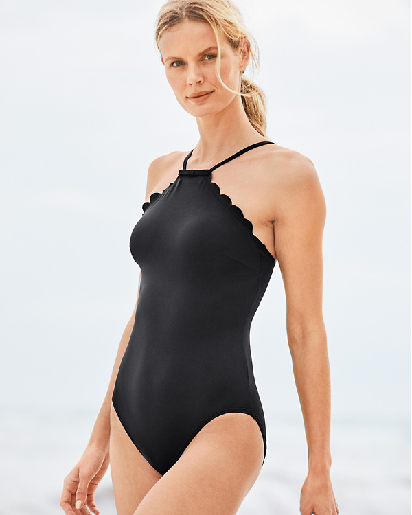 af82f9676ba871 Kate Spade High-Neck Mio One-Piece Swimsuit | Garnet Hill