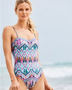 Kenneth Cole Reaction Jungle Mosaic Bandeau Mio One-Piece Swimsuit