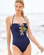 Trina Turk Ribbon-Trim Bandeau One-Piece Swimsuit