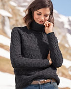 Bobble-Stitch Turtleneck Sweater