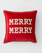 Crewel-Embroidered Merry Merry Pillow