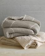 EILEEN FISHER Organic-Cotton Gauzy Stripe Reversible Blanket and Pillow Cover