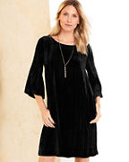 Bell-Sleeve Velvet Dress