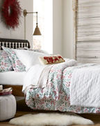 Textured-Diamond Organic-Cotton Coverlet and Shams