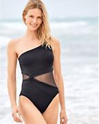 Michael Kors Mesh-Inset One-Shoulder Maillot