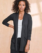 Draped-Pocket Knit Cardigan
