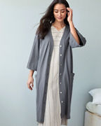 EILEEN FISHER Organic-Cotton Button-Front Robe