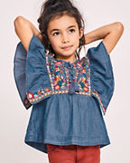 Blu & Blue Girls' Deja Embroidered Denim Top