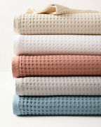 Chunky Waffle-Weave Organic-Cotton Blanket and Throw