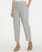 EILEEN FISHER Organic-Cotton & Linen Ticking-Stripe Ankle Pants