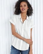 EILEEN FISHER TENCEL™ & Organic Cotton Striped Boxy Shirt