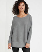 EILEEN FISHER Washable-Wool Rib-Detail Bateau-Neck Tunic