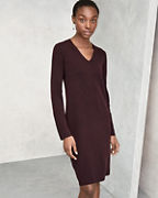 EILEEN FISHER Washable Wool Fine-Crêpe V-Neck Dress