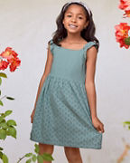 Girls' Eyelet Ruffle-Sleeve Sundress