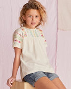 Girls' Embroidered Wide-Sleeve Knit Top