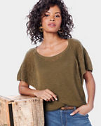Lightweight Cashmere Flutter-Sleeve Sweater