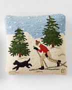 Cross-Country Skier Hooked Wool Pillow