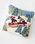 Daring Dogs Hooked Wool Pillow