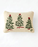 Trees on White Hooked Wool Pillow