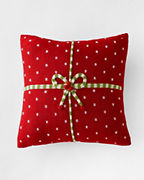 Holiday Knit Large Red Gift Pillow