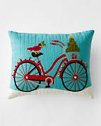Crewel-Embroidered Bike Pillow