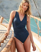 Garnet Hill Ruched Surplice V-Neck One-Piece Swimsuit