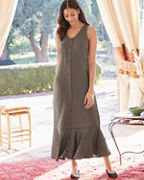 Linen Button-Front Maxi Dress