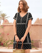 Embroidered Cap-Sleeve Gauze Dress