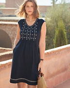 Easy Embroidered Cap-Sleeve Dress