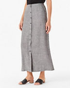 Linen Button-Front Maxi Skirt