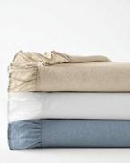 Ruffle Embellished-Trim Relaxed-Linen Bedding