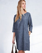 EILEEN FISHER Hemp & Organic-Cotton Chambray Scoop-Neck Dress