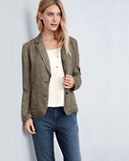 EILEEN FISHER Washed Organic-Linen Délavé Shaped Blazer