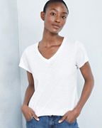 EILEEN FISHER Slubbed-Organic-Cotton V-Neck Tee