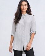 EILEEN FISHER TENCEL™ & Organic-Cotton Ministripe Shirt