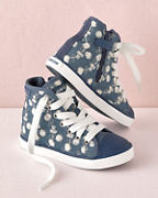 Girls' Geox Embroidered High-Top Sneakers